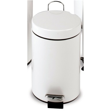 12 Litre Pedal Operated Bin, White