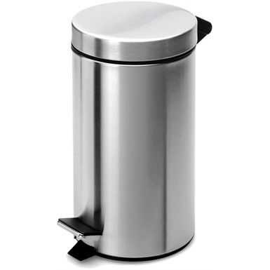12 Litre Pedal Operated Chrome Bin, Plastic Liner