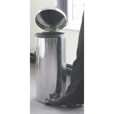 30 Litre Pedal Oporated Bin, Stainless Steel Mirror Finish